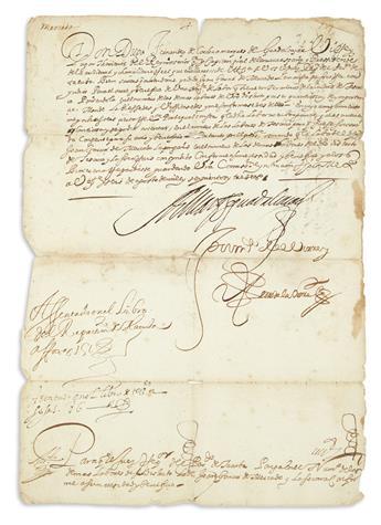 (MEXICAN MANUSCRIPTS.) Fernández de Córdoba, Diego. The Viceroy of New Spain grants a repartimiento labor request.