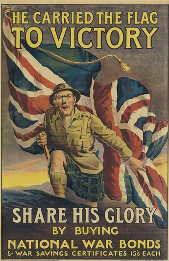 DESIGNER UNKNOWN. HE CARRIED THE FLAG TO VICTORY. 1918. 29x19 inches, 75x49 cm. McLagan & Cumming, Edinburgh.