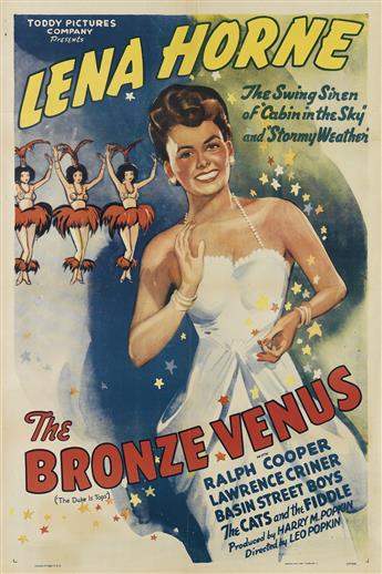 DESIGNER UNKNOWN. LENA HORNE / THE BRONZE VENUS. 1943. 41x27 inches, 104x68 cm. Morgan Litho. Corp., Cleveland.