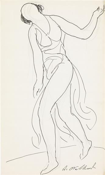 ABRAHAM WALKOWITZ Two drawings of Isadora Duncan.
