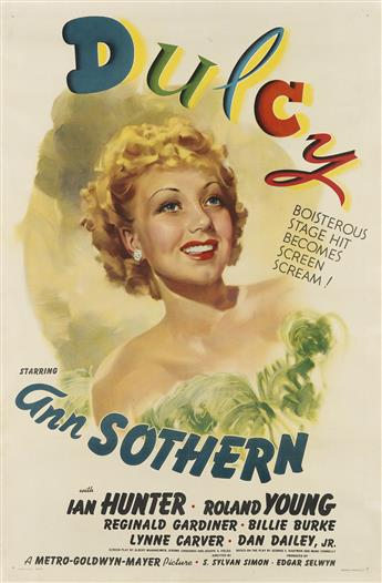 DESIGNER UNKNOWN. DULCY / ANN SOTHERN. 1940. 41x27 inches, 104x68 cm. Tooker Litho. Co., New York.