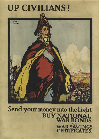 WILLIAM J. FRANKS (DATES UNKNOWN). UP CIVILIANS! / SEND YOUR MONEY INTO THE FIGHT. 1918. 19x14 inches, 50x37 cm. H.&G. Graham Ltd.