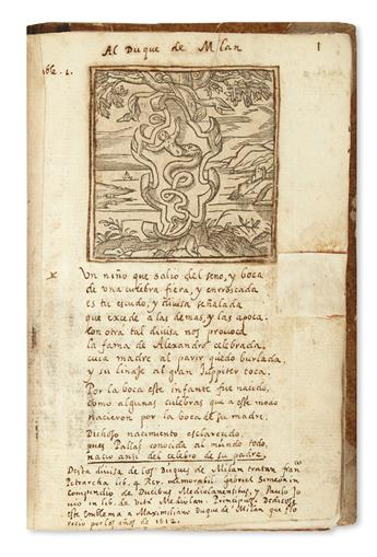 MANUSCRIPT.  Alciato, Andrea. Emblemas [spine title]. Manuscript in Spanish on paper, illustrated with woodcuts from a printed edition.