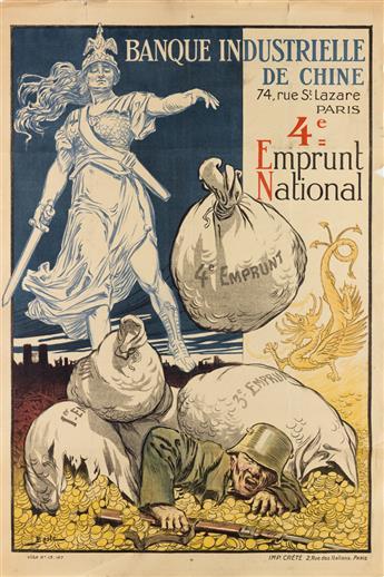 BASTÉ (DATES UNKNOWN). 4E EMPRUNT NATIONAL. 1918. 46x31 inches, 118x80 cm. Crété, Paris.