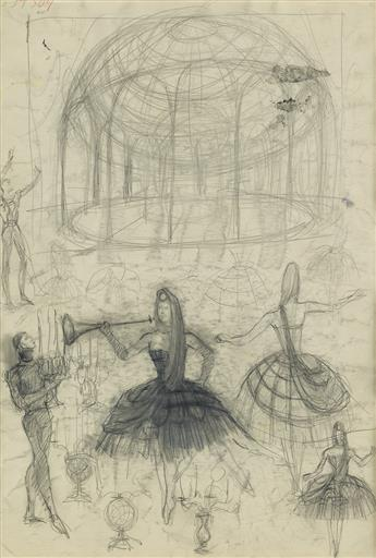 PAVEL TCHELITCHEW. (THEATER / BALLET / SET DESIGN) Sketch.