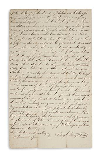 (SLAVERY AND ABOLITION.) Ivey, Hugh. Deed of manumission for his 26 slaves.