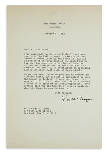 HIS IRISH ROOTS RONALD REAGAN. Typed Letter Signed, as President, to George Sullivan, mentioning his...