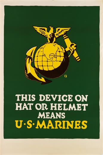 CHARLES BUCKLES FALLS (1874-1960). THIS DEVICE ON HAT OR HELMET MEANS U.S. MARINES. Circa 1917. 42x28 inches, 106x71 cm.