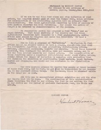 HOOVER, HERBERT. Signature, on a copy of a typed press release to all editions of morning papers, Monday, June 28, 1943,