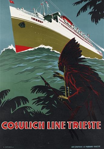 A. DONDOU (DATES UNKNOWN). COSULICH LINE TRIESTE. Circa 1948. 38x26 inches, 95x68 cm. Arti Grafiche S.D. Modiano, Trieste.