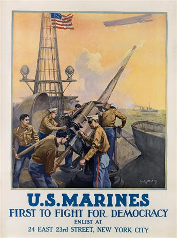LEON ALARAC SHAFER (1866-1940). U.S. MARINES / FIRST TO FIGHT FOR DEMOCRACY. 1917. 40x30 inches, 102x76 cm.