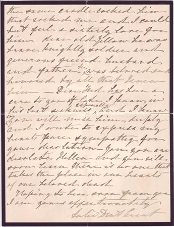 GRANT, JULIA DENT. Autograph Letter Signed, to her sister-in-law, Helen Louise Lynd Dent (My dear Helen),