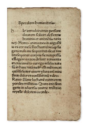 INCUNABULA  ISIDORUS HISPALENSIS, Saint. Speculum humanitatis.  Circa 1473-74