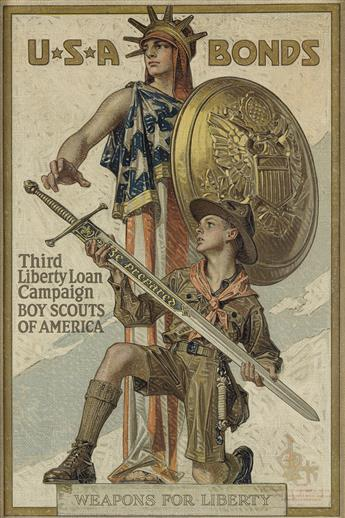 JOSEPH C. LEYENDECKER (1874-1951). U.S.A BONDS / THIRD LIBERTY LOAN. 1918. 29x19 inches, 75x50 cm. American Lithographic Co., New York.