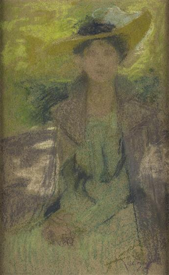 ATTRIBUTED TO ALPHONSE MUCHA (1860-1939). [WOMAN IN HAT.] Pastel on brown paper. 13x8 inches, 33x20 cm.