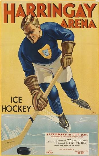 E.R.B. (DATES UNKNOWN). HARRINGAY ARENA / ICE HOCKEY. Circa 1938. 30x19 inches, 76x49 cm.