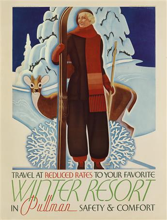 WILLIAM WELSH (1889-1984). TRAVEL AT REDUCED RATES TO YOUR FAVORITE WINTER RESORT IN PULLMAN. Circa 1935. 26x20 inches, 68x52 cm. Charl