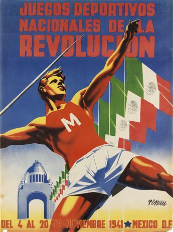 JOSEP RENAU MONTORO (1907-1982). JUEGOS DEPORTIVOS NACIONALES DE LA REVOLUCION. 1941. 36x26 inches, 91x67 cm. El Cromo, [Mexico.]
