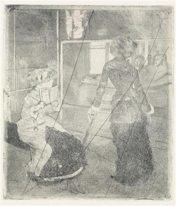 EDGAR DEGAS Mary Cassatt au Louvre, Musée des Antiques.