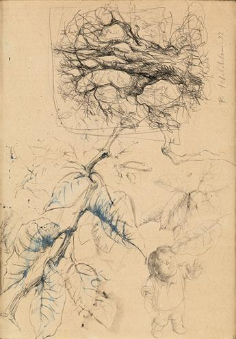 PAVEL TCHELITCHEW. Nature Sketch for the Leaf Children Series.