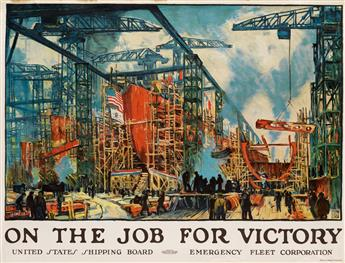 JONAS LIE (1880-1940). ON THE JOB FOR VICTORY. Circa 1918. 29x38 inches, 74x97 cm. W.F. Powers Co. Lith, New York.