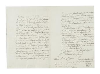 LAFAYETTE, GILBERT DU MOTIER; MARQUIS DE. Autograph Note Signed, Lafeyette, to Mr. Perreil[?], forwarding a letter addressed to Lafay