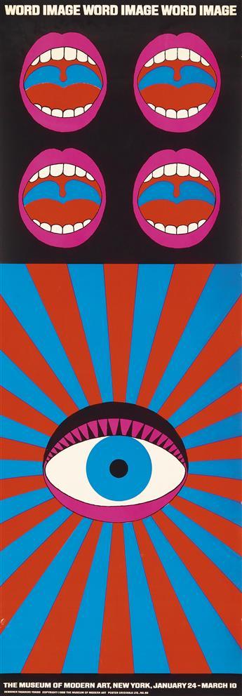TADANORI YOKOO (1936- ). WORD IMAGE. 1968. 48x17 inches, 123x43 cm. Poster Originals Ltd., [New York.]