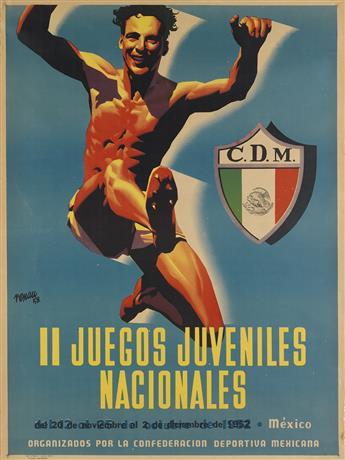 JOSEP RENAU MONTORO (1907-1982). IL JUEGOS JUVENILES NACIONALES. 1952. 36x26 inches, 91x68 cm. El Cromo, [Mexico.]