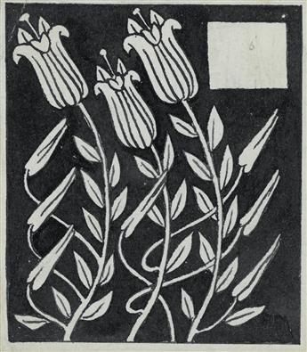 AUBREY BEARDSLEY. Three Lilies Swaying Left.