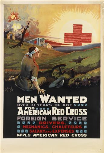 P.I.B. (MONOGRAM UNKNOWN). MEN WANTED / FOR AMERICAN RED CROSS FOREIGN SERVICE. 1918. 41x27 inches, 104x70 cm. National Printing & Engr