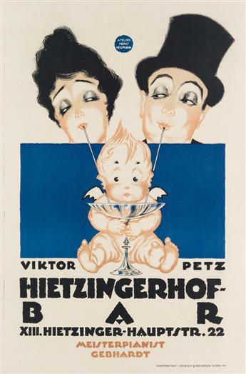 ATELIER HANS NEUMANN. VIKTOR PETZ / HIETZINGERHOF - BAR. Circa 1920. 37x24 inches, 94x62 cm. Jacksch & Neuhold, Vienna.