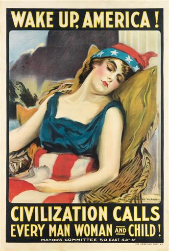 JAMES MONTGOMERY FLAGG (1870-1960). WAKE UP, AMERICA! 1917. 41x28 inches, 105x71 cm. The Hegeman Print, New York.