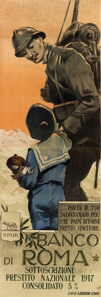 AURELIO CRAFFONARA (1875-1945). BANCO DI ROMA. 1917. 78x26 inches, 198x68 cm. A. Barabino, Genova.