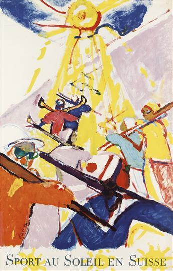 HANS FALK (1918-2002). SPORT AU SOLEIL EN SUISSE. 1957. 39x25 inches, 101x63 cm. Office National Suisse du Tourisme, Zurich.