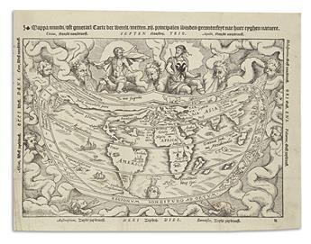 APIAN, PETER; after FRISIUS, GEMMA. Mappa Mundi oft Generael Carte der Werelt.