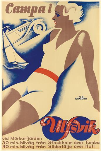 NILS GUSTAF GRANATH (1896-1937). CAMPA I / ULFSVIK. Circa 1930. 35x23 inches, 90x59 cm. J. Olséns, Stockholm.