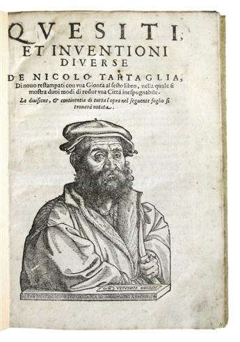 TARTAGLIA, NICCOLÒ. Quesiti et Inventioni Diverse. 1606. First part only of a collected edition.