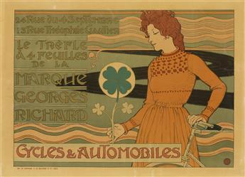 EUGENE GRASSET (1841-1917). MARQUE GEORGES RICHARD / CYCLES & AUTOMOBILES. 1899. 16x22 inches, 41x56 cm. Vaugirard G. de Malherbe et Ci