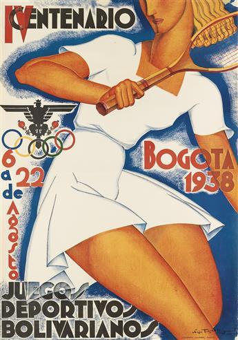 SERGIO TRUJILLO MAGNENAT (1911-1999). BOGOTA 1938 / IV CENTENARIO / JUEGOS DEPORTIVOS BOLIVARIANOS. 1938. 39x27 inches, 99x69 cm.