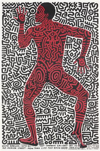 KEITH HARING (1958-1990). KEITH HARING: INTO 84. 1983. 35x23 inches, 89x58 cm.