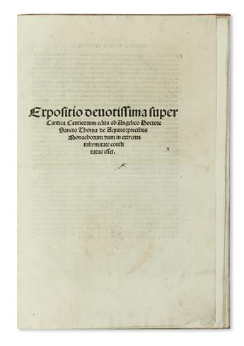 THOMAS AQUINAS, Saint. Expositio devotissima super Cantica canticorum.  1516
