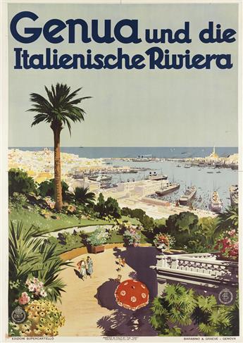 AURELIO CRAFFONARA (1875-1945). GENUA UND DIE ITALIENISCHE RIVIERA. 1931. 39x27 inches, 99x70 cm. Barabino & Graeve, Genova.
