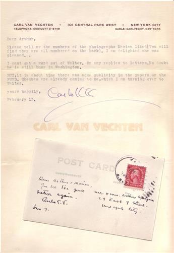 VAN VECHTEN, CARL. Two items, each Signed, Carlo V.V., to civil rights leader Arthur B. Spingarn: Brief Autograph Postcard * Typed Le
