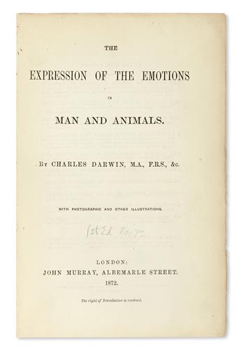 DARWIN, CHARLES. The Expression of the Emotions in Man and Animals.  1872