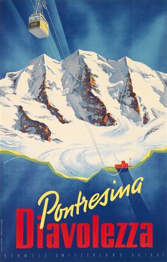 MARTIN PEIKERT (1901-1975). PONTRESINA / DIAVOLEZZA. 1955. 39x25 inches, 101x64 cm. Eidenbenz-Seitz & Co., St. Gallen.