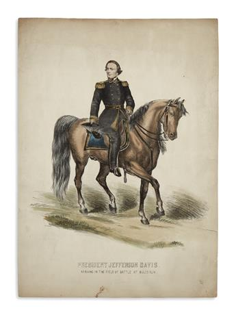 (PRINTS--CIVIL WAR.) [Hoyer & Ludwig.] President Jefferson Davis Arriving in the Field of Battle at Bulls Run.