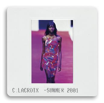 (FASHION) Binder containing 350 color slides portraying catwalk shots of Christian LaCroix prêt-à-porter fashion shows.