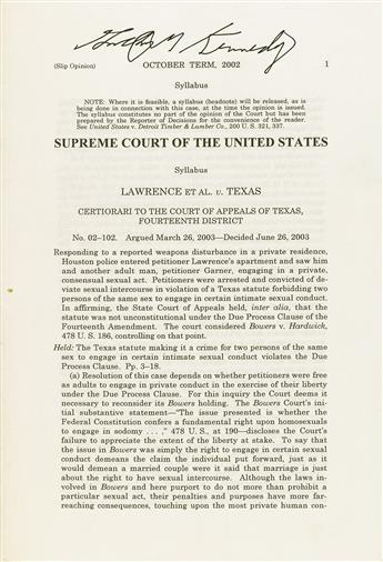 SUPREME COURT OF THE UNITED STATES; Anthony Kennedy.  Lawrence et al v. Texas. Slip opinion.