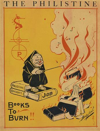 WILLIAM DENSLOW (1856-1015). THE PHILISTINE / BOOKS TO BURN!! Circa 1898. 1410 inches, 36x27 cm.