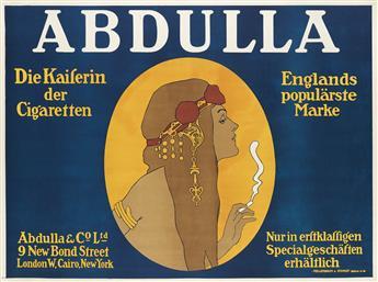 DESIGNER UNKNOWN. ABDULLA / DIE KAISERIN DER CIGARETTEN. Circa 1910. 37x28 inches, 96x71 cm. Hollerbaum & Schmidt, Berlin.